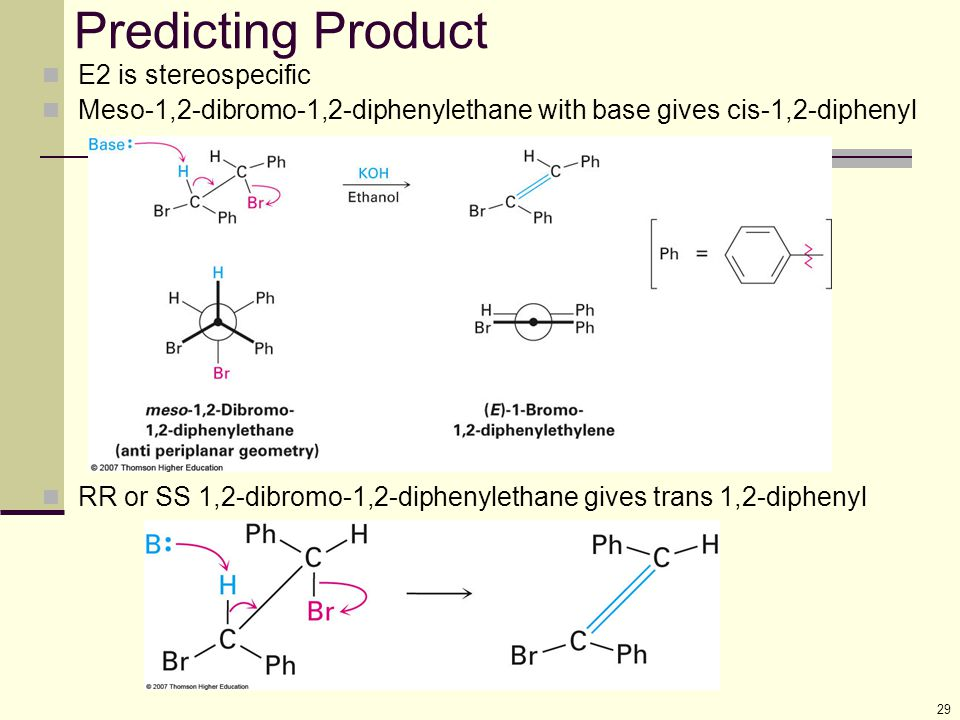29 Predicting Product E2 is stereospecific Meso-1,2-dibromo-1,2-diphenylethane with base gives cis-1,2-diphenyl RR or SS 1,2-dibromo-1,2-diphenylethan
