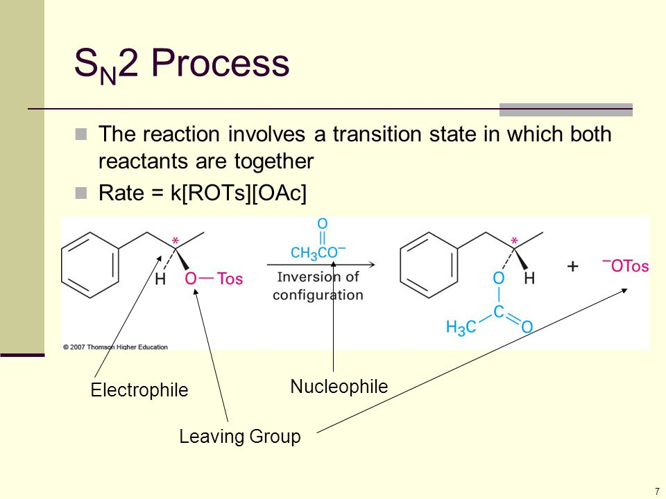 7 S N 2 Process The reaction involves a transition state in which both reactants are together Rate = k[ROTs][OAc] Nucleophile Electrophile Leaving Gro
