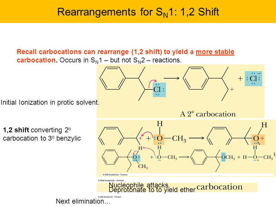 Rearrangements for S N 1: 1,2 Shift Recall carbocations can rearrange (1,2 shift) to yield a more stable carbocation.