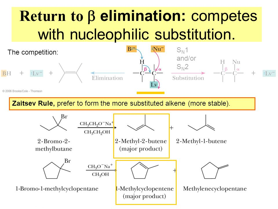  Return to  elimination: competes with nucleophilic substitution.