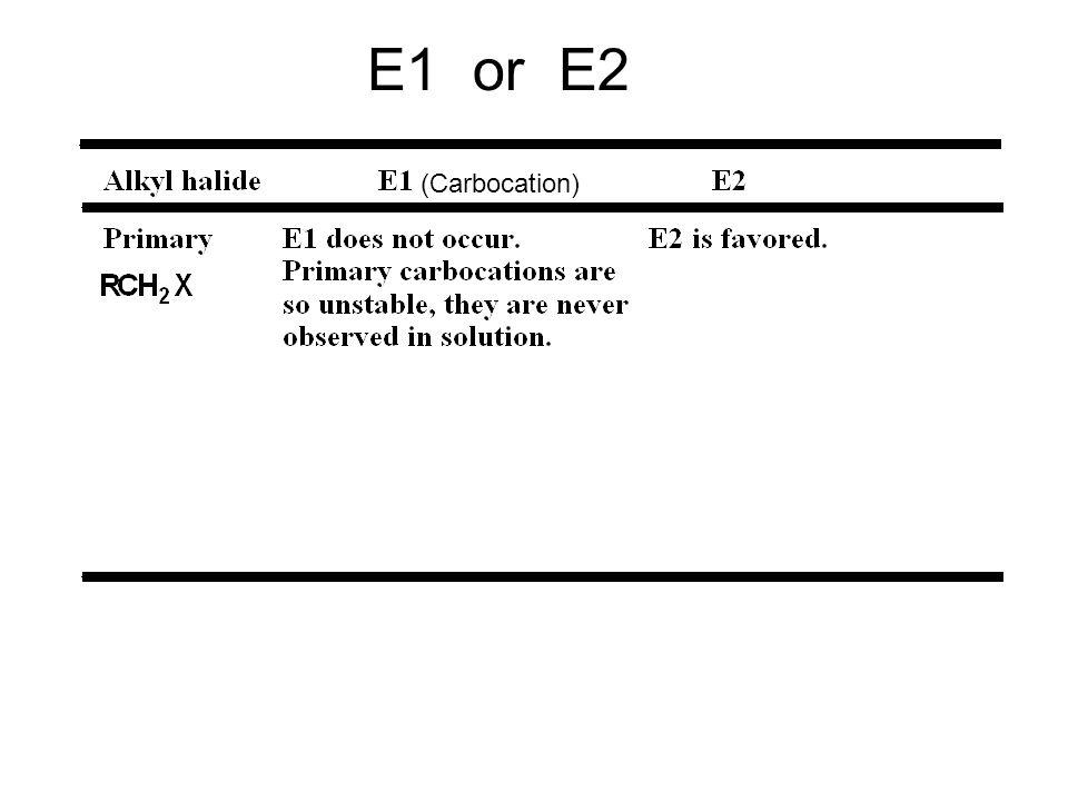 E1 or E2 (Carbocation)