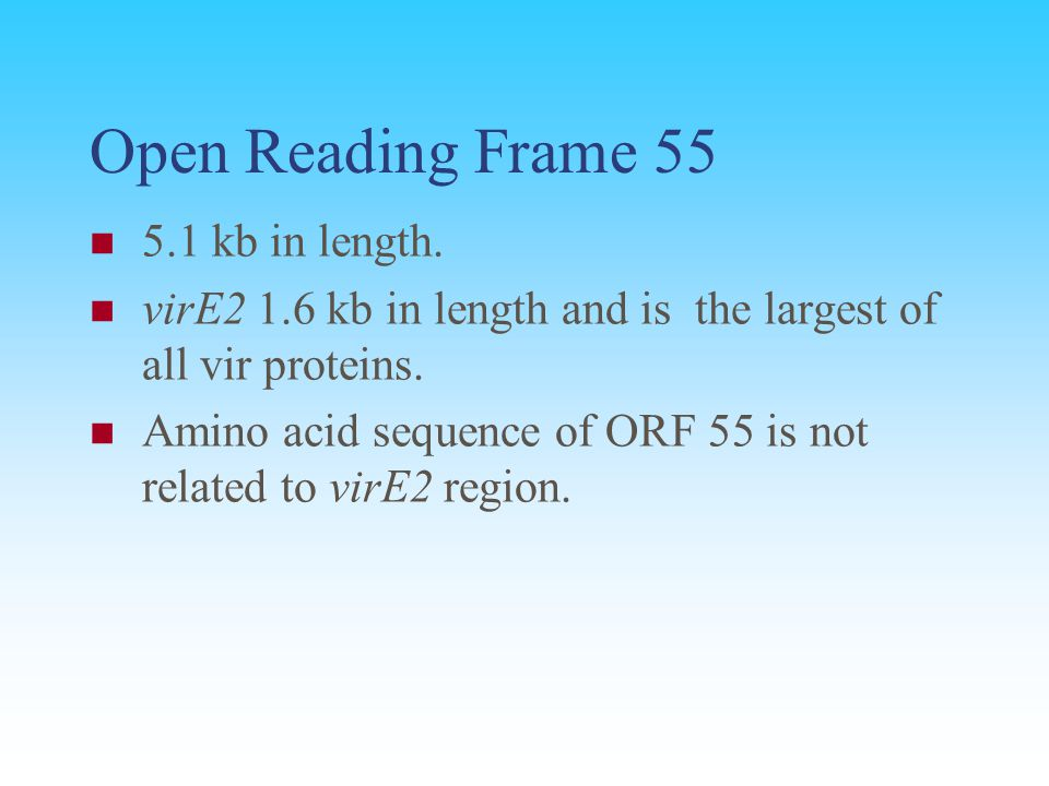 Open Reading Frame 55 5.1 kb in length.
