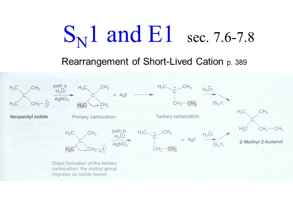 S N 1 and E1 sec. 7.6-7.8 Rearrangement of Short-Lived Cation p. 389