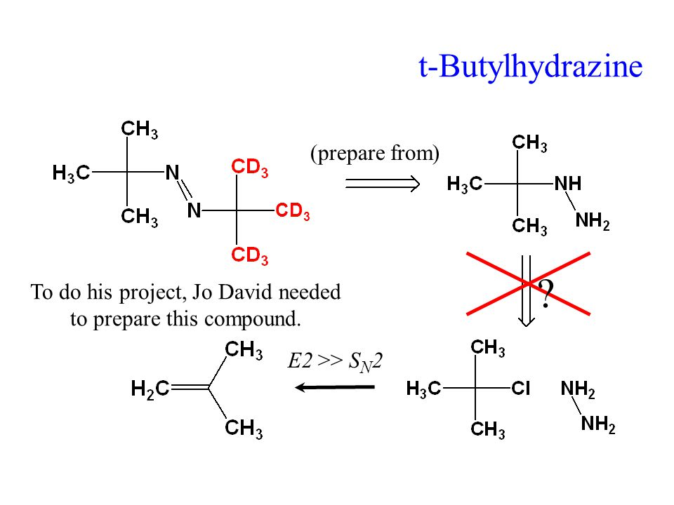 t-Butylhydrazine (prepare from) . To do his project, Jo David needed to prepare this compound.