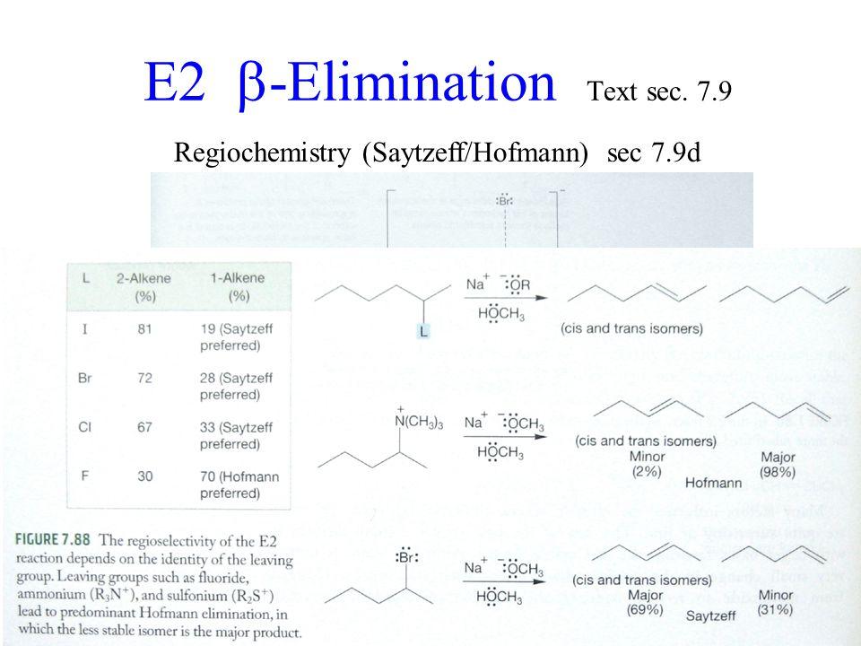 E2  -Elimination Text sec. 7.9 Regiochemistry (Saytzeff/Hofmann) sec 7.9d Saytzeff Hofmann