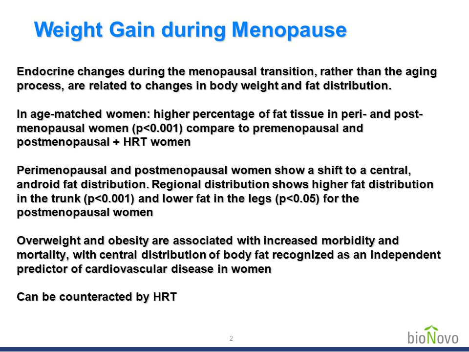 Endocrine changes during the menopausal transition, rather than the aging process, are related to changes in body weight and fat distribution. In age-