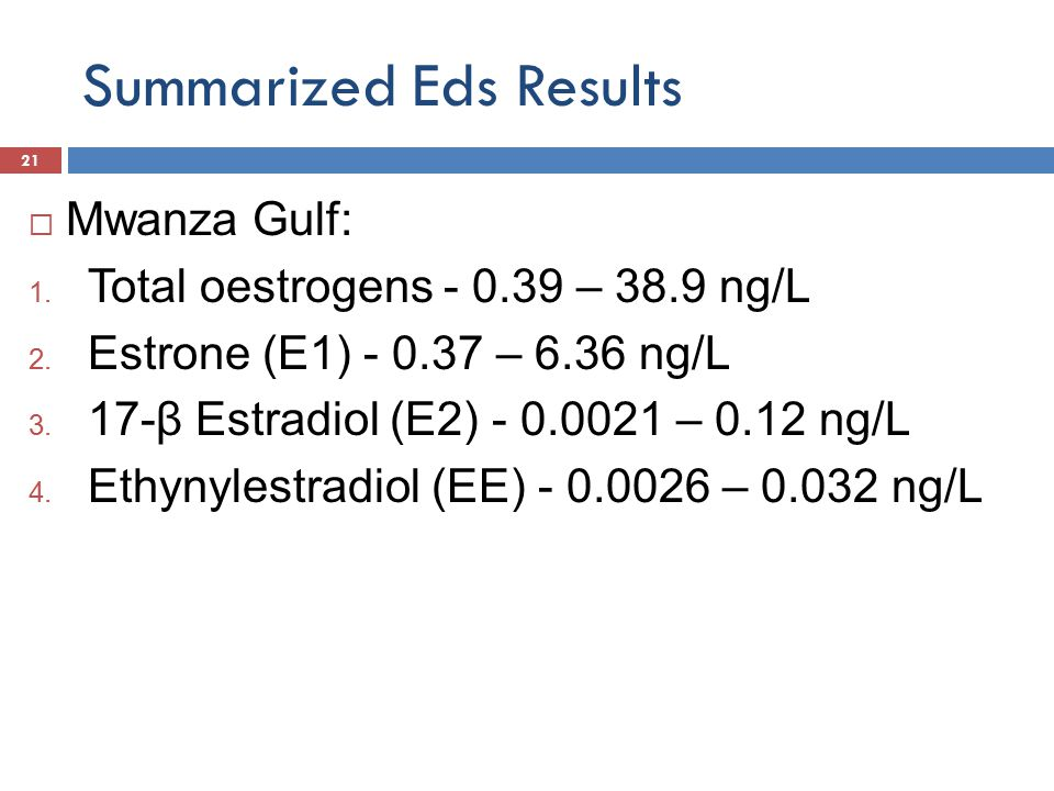 Summarized Eds Results  Mwanza Gulf: 1. Total oestrogens - 0.39 – 38.9 ng/L 2.