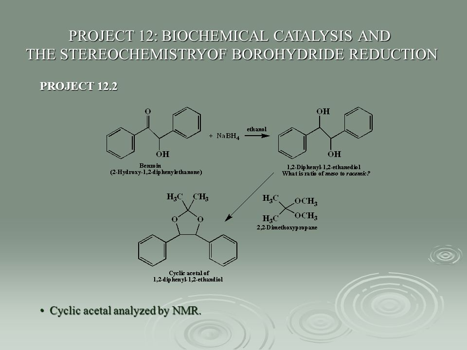 PROJECT 12: BIOCHEMICAL CATALYSIS AND THE STEREOCHEMISTRYOF BOROHYDRIDE REDUCTION PROJECT 12.2 Cyclic acetal analyzed by NMR. Cyclic acetal analyzed b