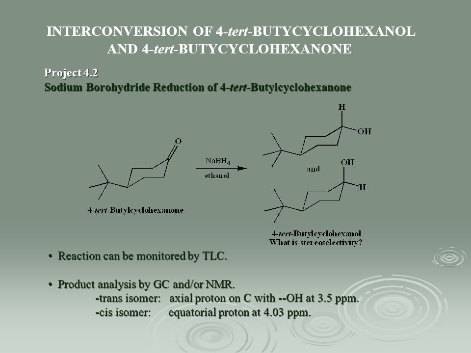 INTERCONVERSION OF 4-tert-BUTYCYCLOHEXANOL AND 4-tert-BUTYCYCLOHEXANONE Project 4.2 Sodium Borohydride Reduction of 4-tert-Butylcyclohexanone Reaction
