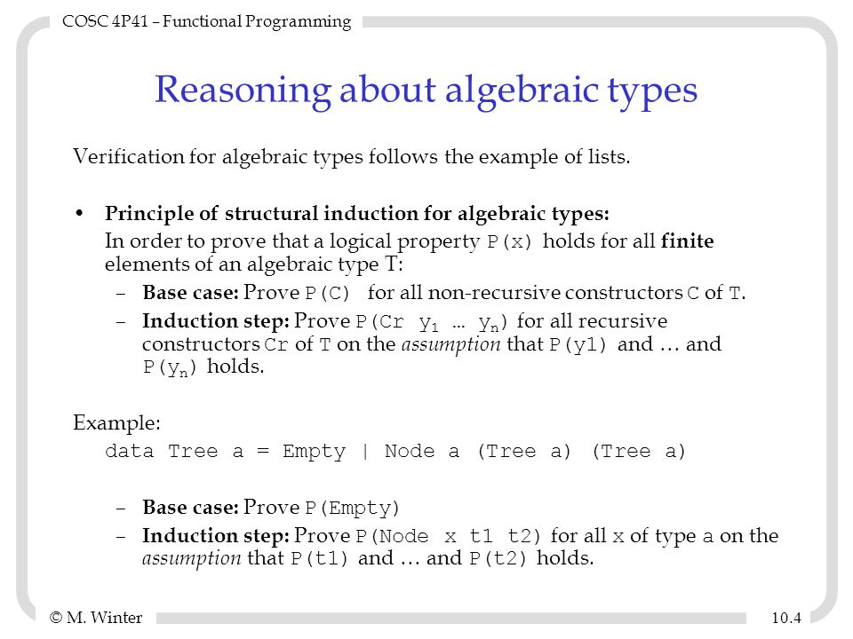© M.Winter COSC 4P41 – Functional Programming 10.