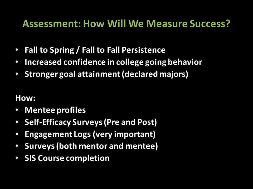Assessment: How Will We Measure Success.