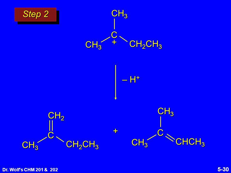 Dr. Wolf s CHM 201 & 202 5-30 Step 2 C CH 2 CH 3 CH 3 + C CH 2 CH 3 CH 3 CH 2 + C CHCH 3 CH 3 – H +
