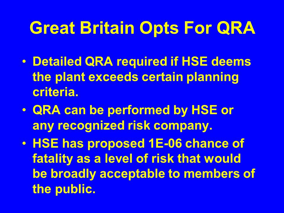 Great Britain Opts For QRA Detailed QRA required if HSE deems the plant exceeds certain planning criteria.