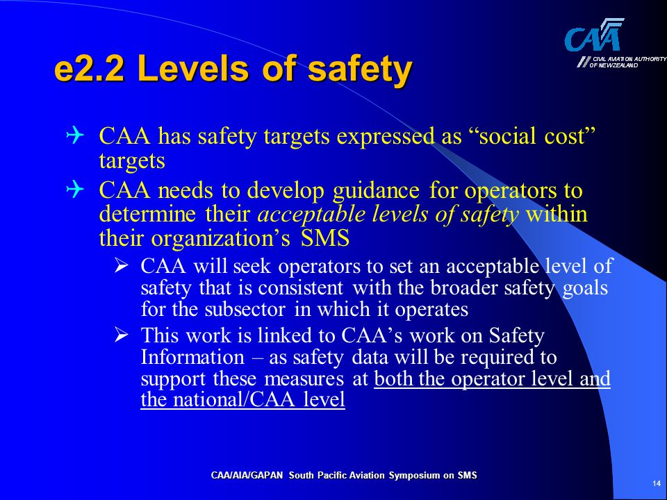 e2.2 Levels of safety  CAA has safety targets expressed as social cost targets  CAA needs to develop guidance for operators to determine their acceptable levels of safety within their organization's SMS  CAA will seek operators to set an acceptable level of safety that is consistent with the broader safety goals for the subsector in which it operates  This work is linked to CAA's work on Safety Information – as safety data will be required to support these measures at both the operator level and the national/CAA level CAA/AIA/GAPAN South Pacific Aviation Symposium on SMS 14