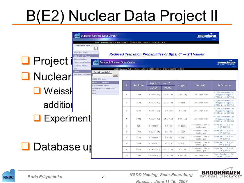 Boris Pritychenko NSDD Meeting, Saint-Petersburg, Russia, June 11-15, 2007 4 B(E2) Nuclear Data Project II  Project is in a good shape  Nuclear physicists requests:  Weisskopf units were introduced in addition to e 2 b 2 and ps  Experimental methods are displayed  Database updates: 3-4 times a year
