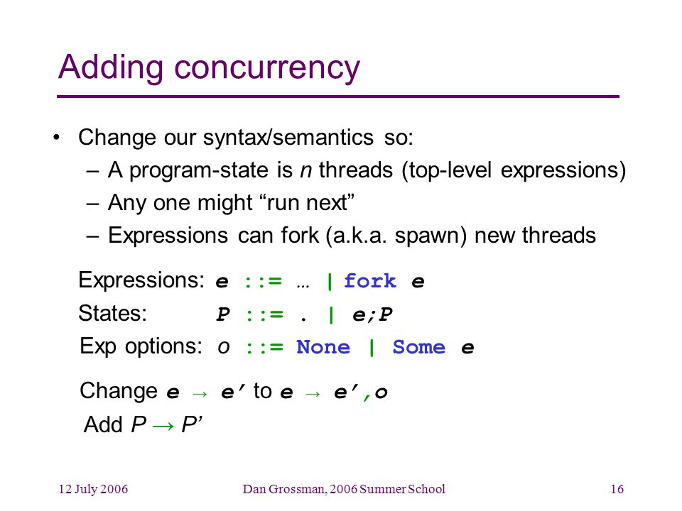 12 July 2006Dan Grossman, 2006 Summer School16 Adding concurrency Change our syntax/semantics so: –A program-state is n threads (top-level expressions) –Any one might run next –Expressions can fork (a.k.a.