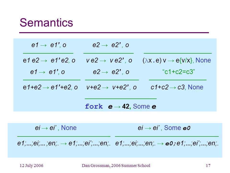 12 July 2006Dan Grossman, 2006 Summer School17 Semantics e1 → e1', o e2 → e2', o –––––––––––––– –––––––––––––– ––––––––––––––––––– e1 e2 → e1' e2, o v e2 → v e2', o ( λ x.
