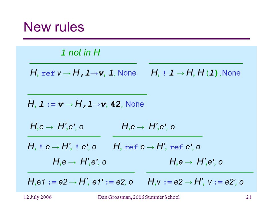 12 July 2006Dan Grossman, 2006 Summer School21 New rules l not in H ––––––––––––––––––––––––– –––––––––––––––––––––– H, ref v → H,l → v, l, None H, .