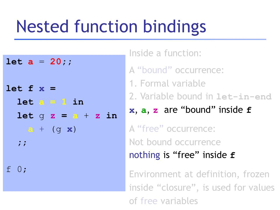 Nested function bindings let a = 20;; let f x = let a = 1 in let g z = a + z in a + (g x) ;; f 0; Inside a function: A bound occurrence: 1.