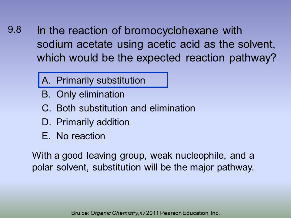 In the reaction of bromocyclohexane with sodium acetate using acetic acid as the solvent, which would be the expected reaction pathway.