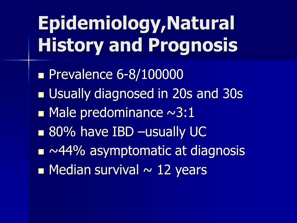 Epidemiology,Natural History and Prognosis Prevalence 6-8/100000 Prevalence 6-8/100000 Usually diagnosed in 20s and 30s Usually diagnosed in 20s and 3