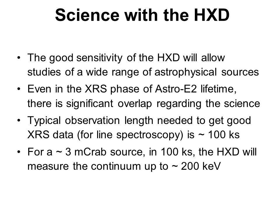 HXD line sensitivity:, 3 , 100,000 s,  E = 3 keV (PIN), 60 keV (GSO/BGO)