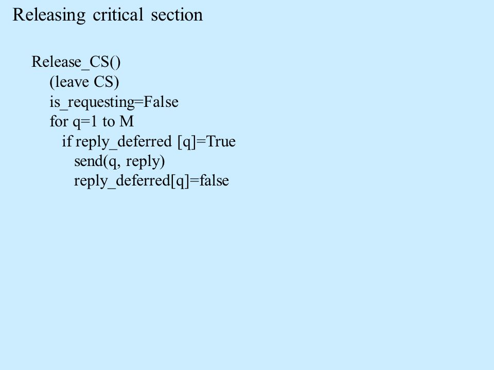 Releasing critical section Release_CS() (leave CS) is_requesting=False for q=1 to M if reply_deferred [q]=True send(q, reply) reply_deferred[q]=false