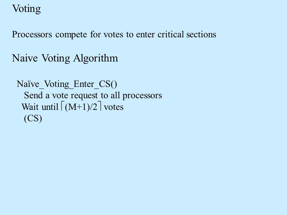 Voting Processors compete for votes to enter critical sections Naive Voting Algorithm Naïve_Voting_Enter_CS() Send a vote request to all processors Wait until  (M+1)/2  votes (CS)