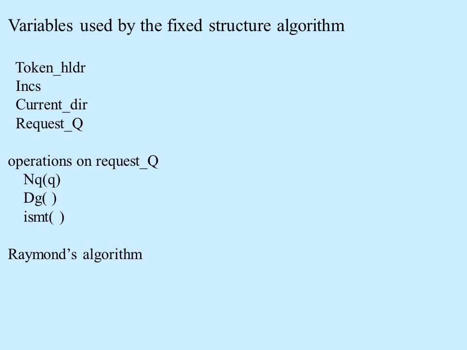 Variables used by the fixed structure algorithm Token_hldr Incs Current_dir Request_Q operations on request_Q Nq(q) Dg( ) ismt( ) Raymond's algorithm