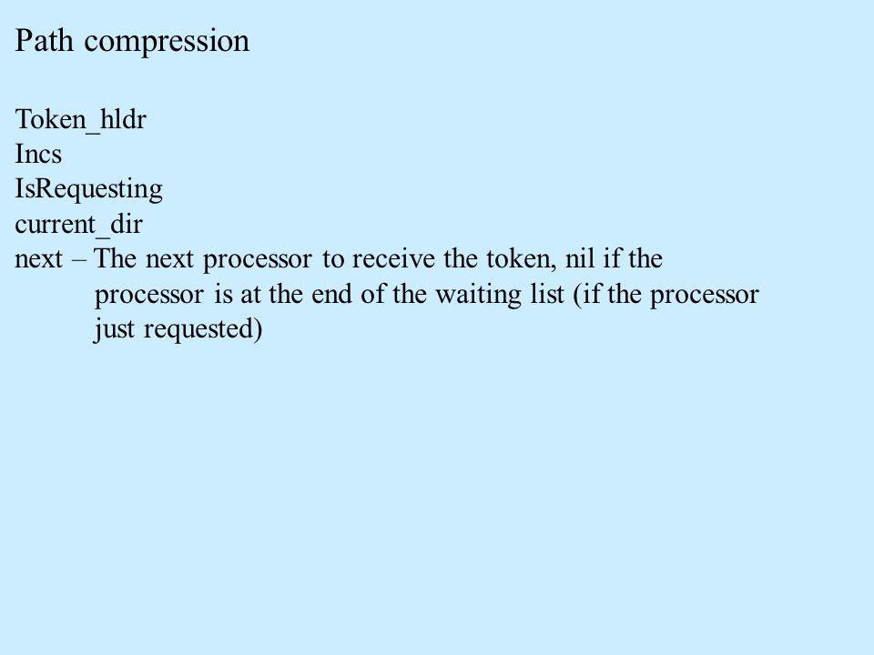 Path compression Token_hldr Incs IsRequesting current_dir next – The next processor to receive the token, nil if the processor is at the end of the waiting list (if the processor just requested)