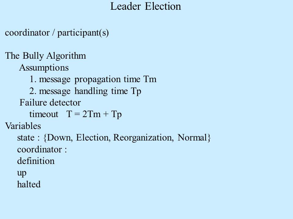 Leader Election coordinator / participant(s) The Bully Algorithm Assumptions 1. message propagation time Tm 2. message handling time Tp Failure detect