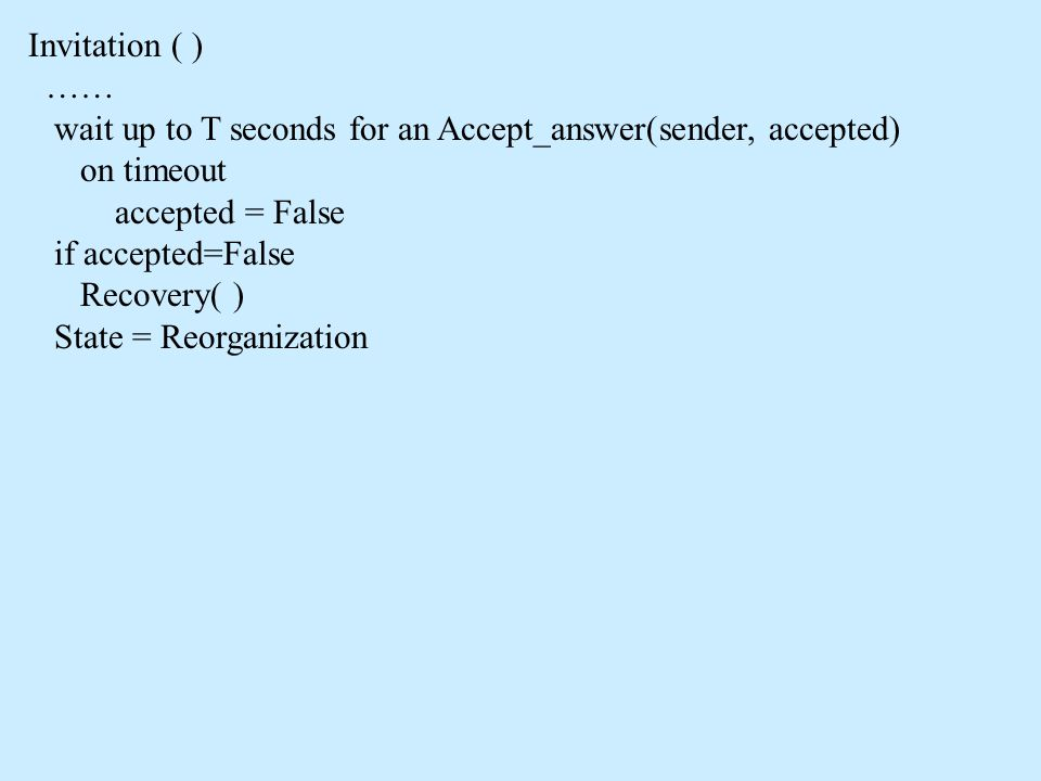 Invitation ( ) …… wait up to T seconds for an Accept_answer(sender, accepted) on timeout accepted = False if accepted=False Recovery( ) State = Reorganization