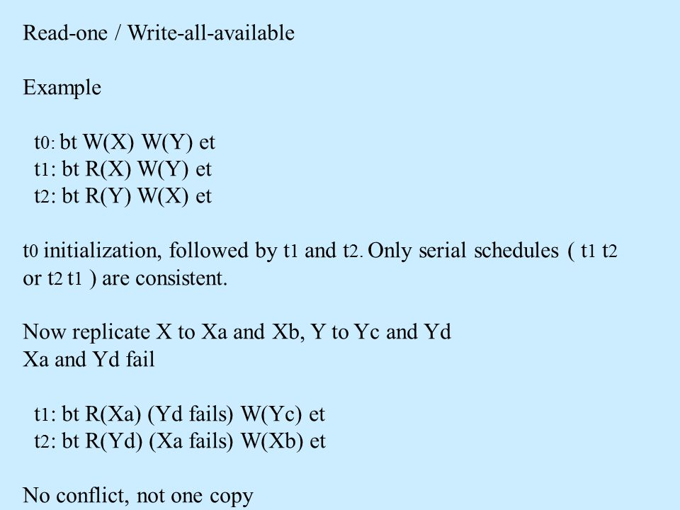 Read-one / Write-all-available Example t 0: bt W(X) W(Y) et t 1 : bt R(X) W(Y) et t 2 : bt R(Y) W(X) et t 0 initialization, followed by t 1 and t 2.