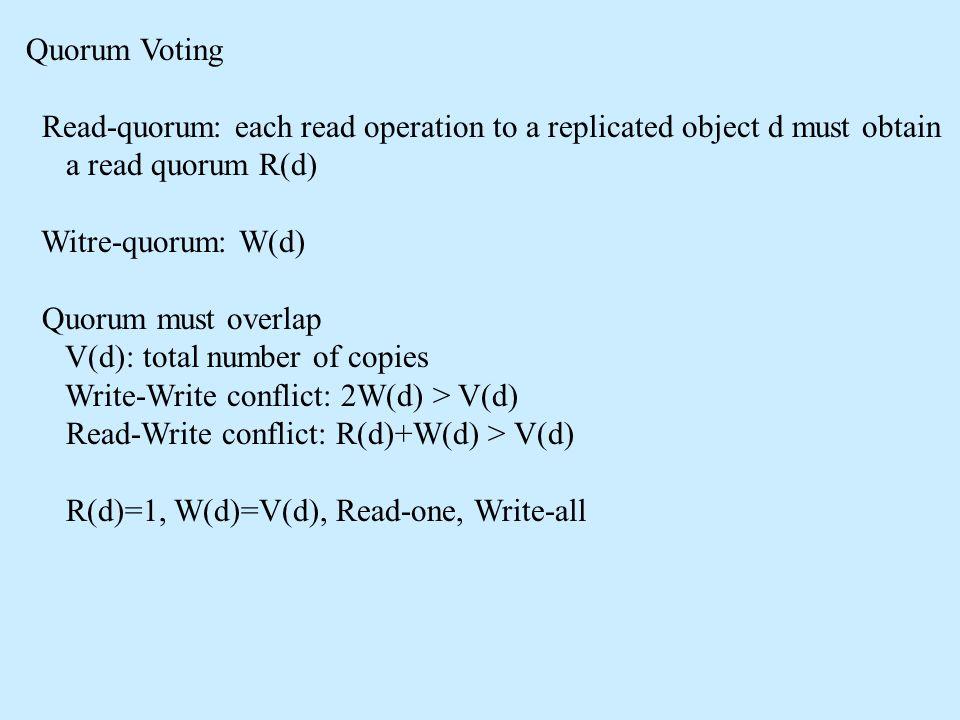 Quorum Voting Read-quorum: each read operation to a replicated object d must obtain a read quorum R(d) Witre-quorum: W(d) Quorum must overlap V(d): to
