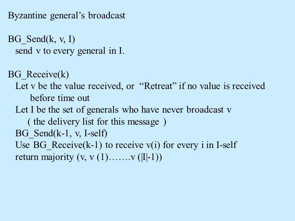 "Byzantine general's broadcast BG_Send(k, v, I) send v to every general in I. BG_Receive(k) Let v be the value received, or ""Retreat"" if no value is re"