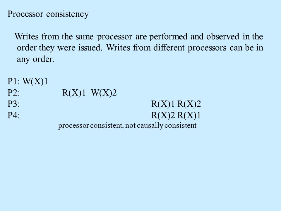Processor consistency Writes from the same processor are performed and observed in the order they were issued.