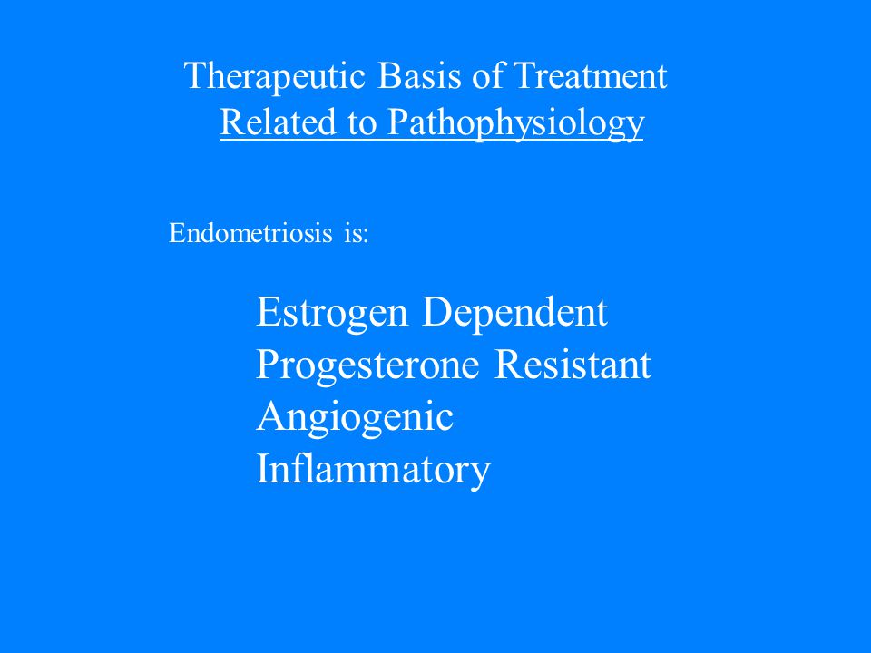Therapeutic Basis of Treatment Related to Pathophysiology Endometriosis is: Estrogen Dependent Progesterone Resistant Angiogenic Inflammatory