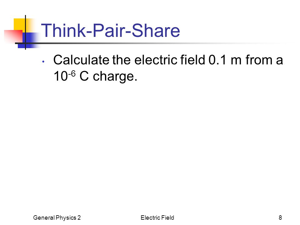 General Physics 2Electric Field8 Think-Pair-Share Calculate the electric field 0.1 m from a 10 -6 C charge.