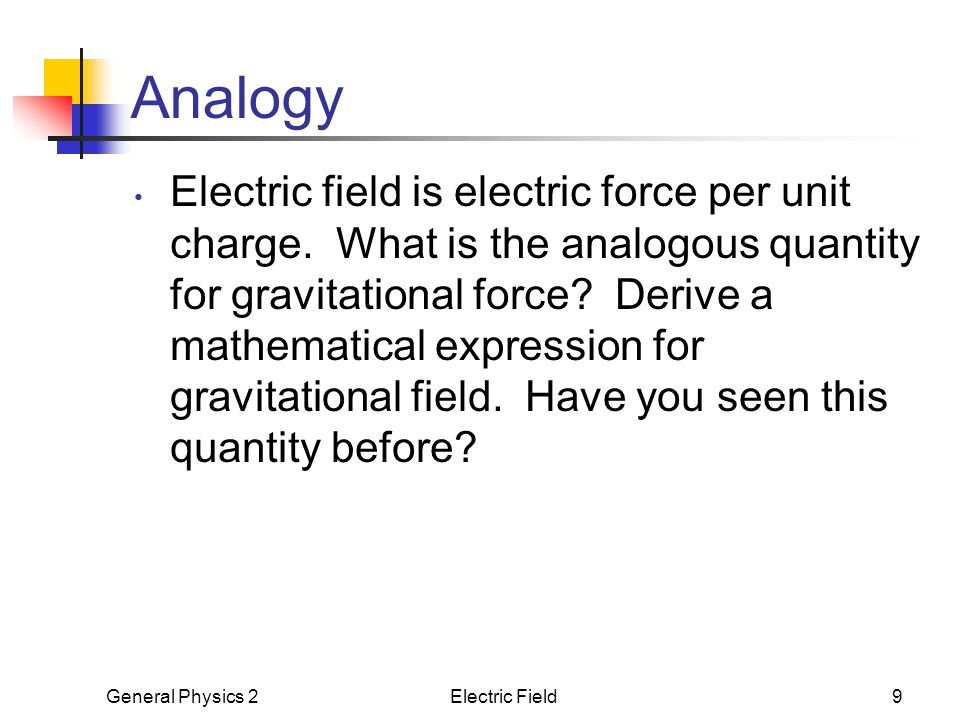 General Physics 2Electric Field9 Analogy Electric field is electric force per unit charge. What is the analogous quantity for gravitational force? Der