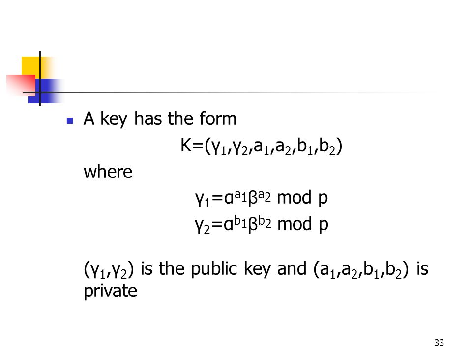33 A key has the form K=(γ 1,γ 2,a 1,a 2,b 1,b 2 ) where γ 1 =α a 1 β a 2 mod p γ 2 =α b 1 β b 2 mod p (γ 1,γ 2 ) is the public key and (a 1,a 2,b 1,b 2 ) is private
