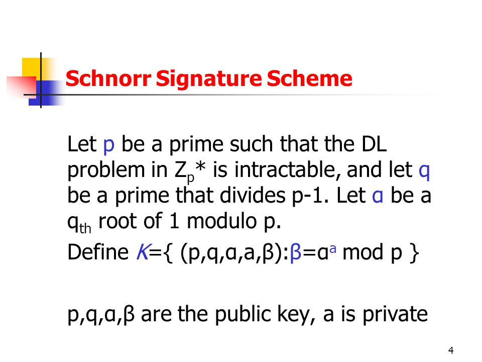 4 Let p be a prime such that the DL problem in Z p * is intractable, and let q be a prime that divides p-1.