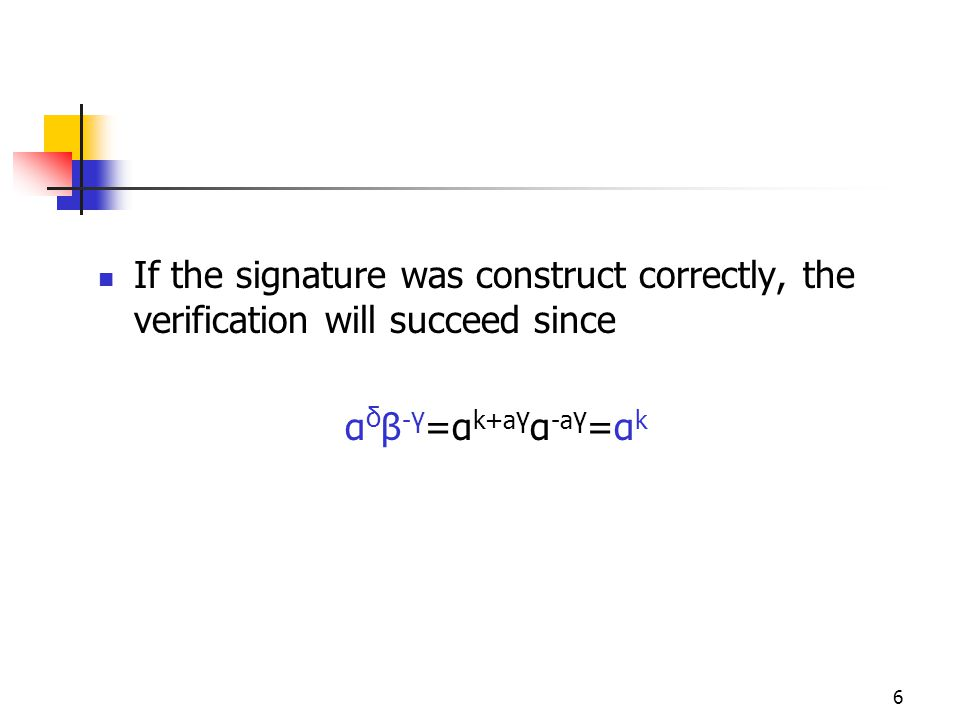 6 If the signature was construct correctly, the verification will succeed since α δ β - γ =α k+a γ α -a γ =α k