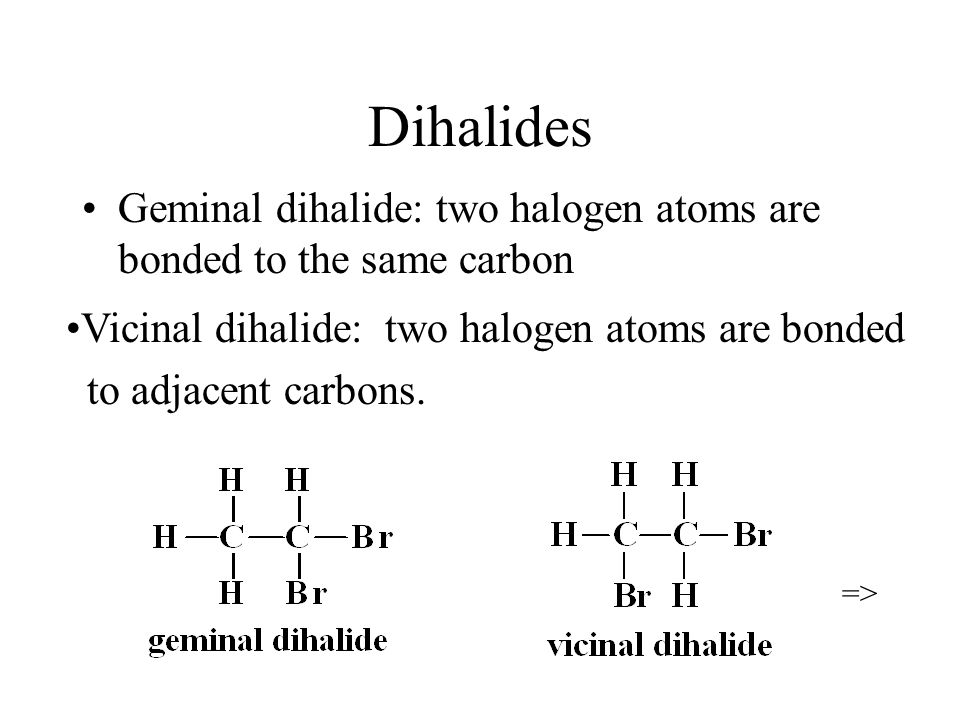 Dihalides Geminal dihalide: two halogen atoms are bonded to the same carbon => Vicinal dihalide: two halogen atoms are bonded to adjacent carbons.