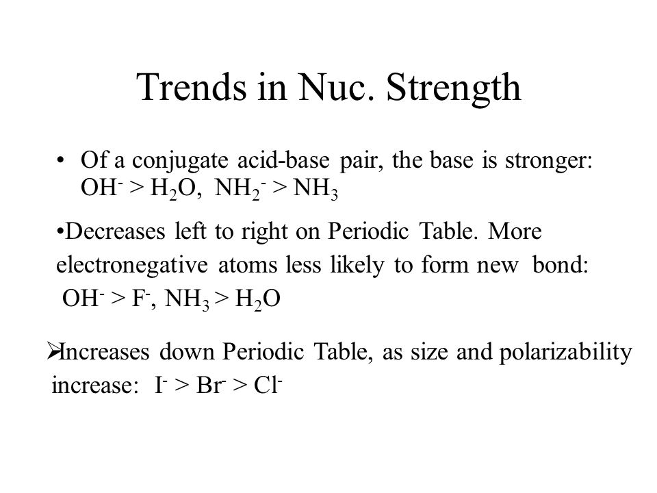 Trends in Nuc. Strength Of a conjugate acid-base pair, the base is stronger: OH - > H 2 O, NH 2 - > NH 3 Decreases left to right on Periodic Table. Mo