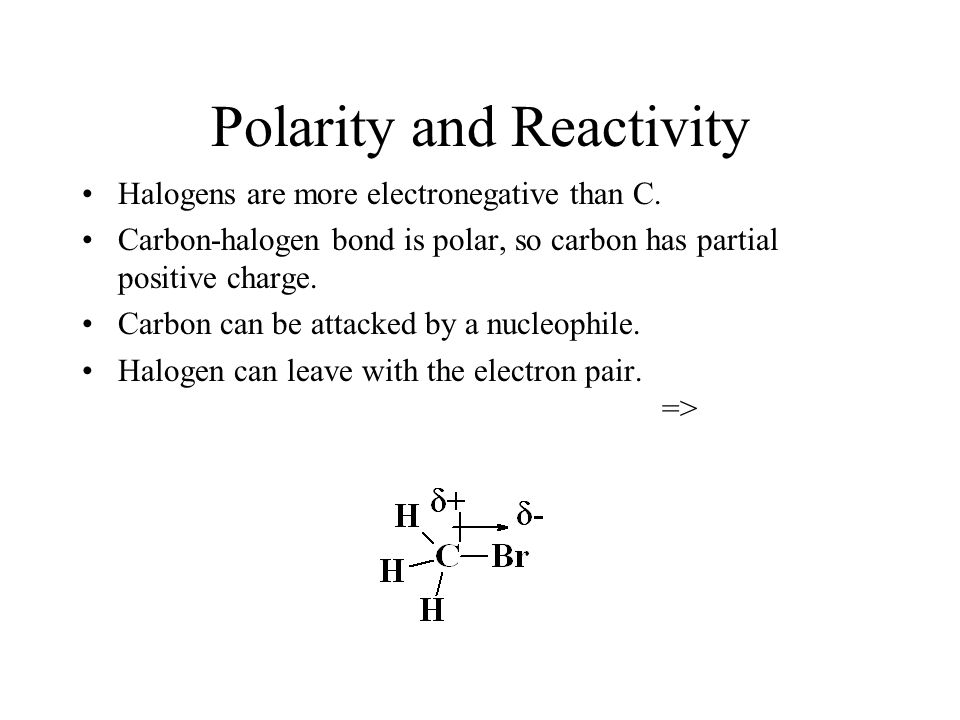 Polarity and Reactivity Halogens are more electronegative than C. Carbon-halogen bond is polar, so carbon has partial positive charge. Carbon can be a