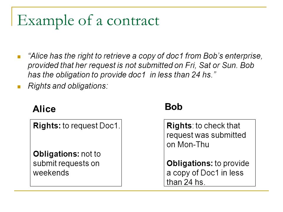 Example of a contract Alice has the right to retrieve a copy of doc1 from Bob's enterprise, provided that her request is not submitted on Fri, Sat or Sun.