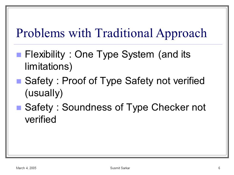 March 4, 2005Susmit Sarkar7 Foundational Certified Code Safety Policy = Formalized Concrete Machine [Appel & Felty] ProducerConsumer Code Certificate Concrete Machine