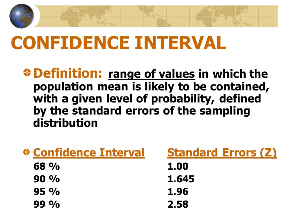 CONFIDENCE INTERVAL Definition: range of values in which the population mean is likely to be contained, with a given level of probability, defined by