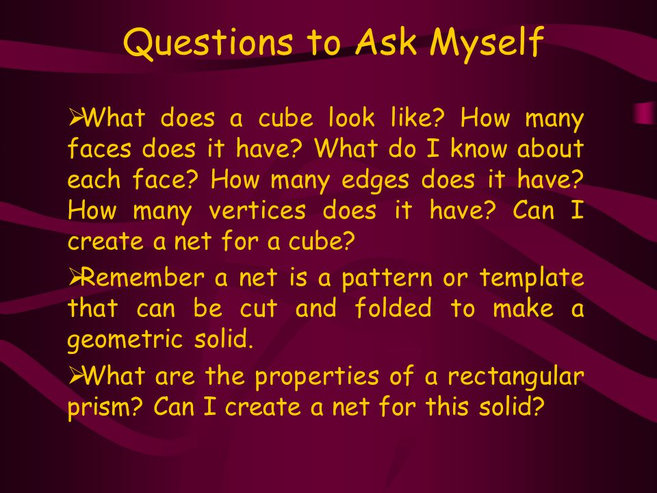 E2Students are expected to identify, describe, and represent the various cross-sections of cubes and rectangular prisms.