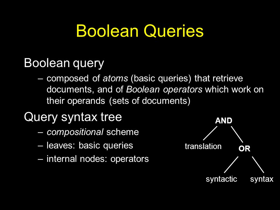 Boolean Queries Boolean query –composed of atoms (basic queries) that retrieve documents, and of Boolean operators which work on their operands (sets of documents) Query syntax tree –compositional scheme –leaves: basic queries –internal nodes: operators AND OR translation syntaxsyntactic